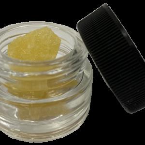 CBD Diamonds in jar with white background